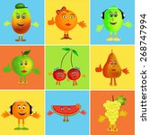 colorful healthy happy fruit... | Shutterstock . vector #268747994