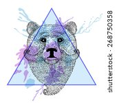 bear face with moustache in... | Shutterstock .eps vector #268750358