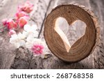 Light  Heart On Rustic Wooden...