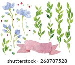 set of watercolor botanical... | Shutterstock . vector #268787528