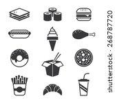set of black fast food icons... | Shutterstock .eps vector #268787720