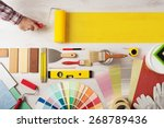 decorator holding a painting... | Shutterstock . vector #268789436