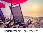 beach bed on sunset time  ... | Shutterstock . vector #268799324