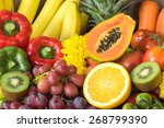 group of fresh fruits and...   Shutterstock . vector #268799390