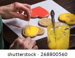 close up of the process of hand ... | Shutterstock . vector #268800560