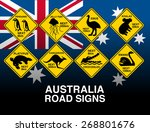 australian yellow road warning... | Shutterstock .eps vector #268801676