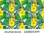 beautiful seamless floral... | Shutterstock . vector #268805399