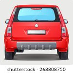 vector red car   back view | Shutterstock .eps vector #268808750