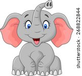 cute elephant cartoon sitting | Shutterstock . vector #268822844