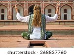 young woman meditating in the... | Shutterstock . vector #268837760