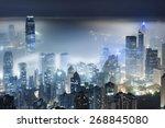 misty night view of victoria... | Shutterstock . vector #268845080