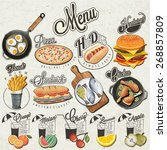 retro vintage style fast food...   Shutterstock .eps vector #268857809