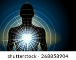 human silhouette with energy... | Shutterstock .eps vector #268858904