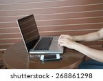 woman working on the laptop | Shutterstock . vector #268861298