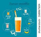 sunrise smoothie recipe. menu... | Shutterstock .eps vector #268867604