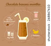 chocolate banana smoothie...   Shutterstock .eps vector #268867610