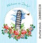 postcard  italy  landmarks  ... | Shutterstock .eps vector #268883228