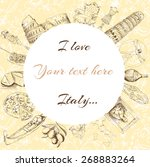 postcard  italy  landmarks | Shutterstock .eps vector #268883264