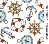 vector pattern with anchors ... | Shutterstock .eps vector #268886483