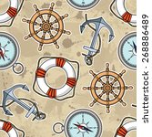 vector pattern with anchors ... | Shutterstock .eps vector #268886489