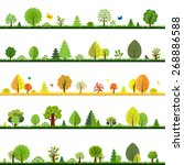 trees borders with gradient... | Shutterstock .eps vector #268886588