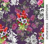 garden floral seamless pattern...   Shutterstock . vector #268890644