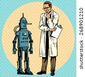 professor scientist and a robot.... | Shutterstock .eps vector #268901210