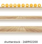 Wooden Shelves Isolated On...