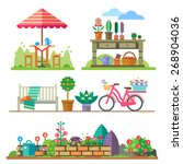 garden landscapes  summer and... | Shutterstock .eps vector #268904036