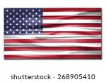 us waving flag with shadow on... | Shutterstock . vector #268905410