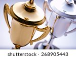 gold and silver trophies... | Shutterstock . vector #268905443