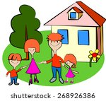family of four on vacation. | Shutterstock .eps vector #268926386