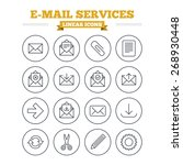 mail services linear icons set. ... | Shutterstock .eps vector #268930448