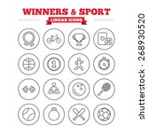winners and sport linear icons... | Shutterstock .eps vector #268930520