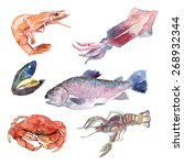 Watercolor Sea Food Set With...