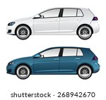 white and blue car | Shutterstock .eps vector #268942670