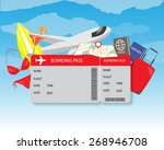 airplane travel ticket. modern... | Shutterstock .eps vector #268946708