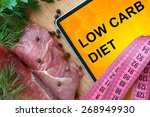 tablet with low carb diet and... | Shutterstock . vector #268949930