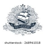 hand drawn vintage label with a ... | Shutterstock .eps vector #268961018