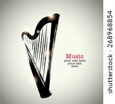grunge drawing harp with... | Shutterstock .eps vector #268968854