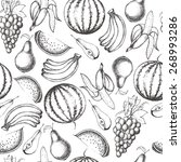 collection of hand drawn fruits ... | Shutterstock .eps vector #268993286