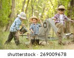 three little boys staged a halt ... | Shutterstock . vector #269009678
