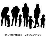 silhouette of a mother and... | Shutterstock . vector #269014499