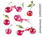 watercolor cherry. vector... | Shutterstock .eps vector #269024399