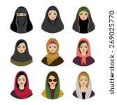 Muslim Girls Avatars Set. Asia...