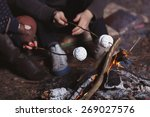 couple tent camping in the... | Shutterstock . vector #269027576