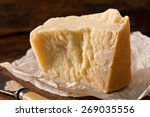 an aged authentic parmigiano... | Shutterstock . vector #269035556