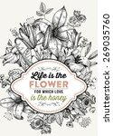 vintage floral card. frame with ... | Shutterstock .eps vector #269035760