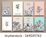 vintage floral cards set. frame ... | Shutterstock .eps vector #269035763