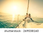 young couple in love on sail... | Shutterstock . vector #269038160